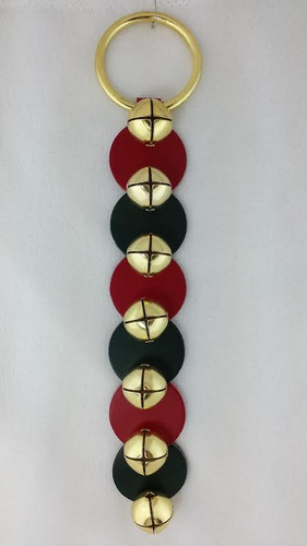 Belsnickel -Red and Green Disks Leather Strap with 6 Bells