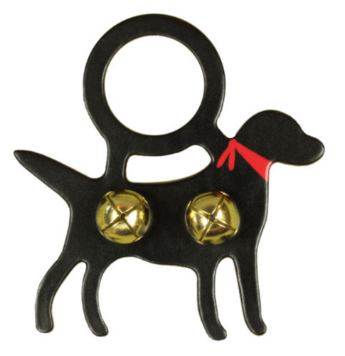 Belsnickel, Black Lab With Scarf, Doorknob Bell Hanger