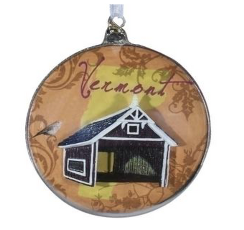 """Roman - State of Vermont Glass Disk Christmas Ornaments 4.5"""""""
