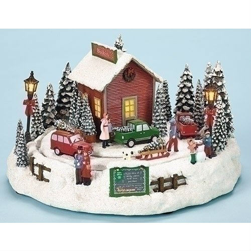 "7"" LED Tree Farm Rotate Battery Operated Without Batteries Plays Various Christmas Songs by Roman"