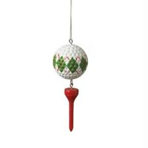 Red and White Argyle Golf Ball and Red Tee Dangle Christmas Ornament