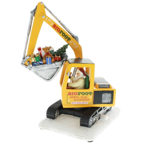 Amusements High Santa in North Pole Excavator Action Musical Decor, 11""