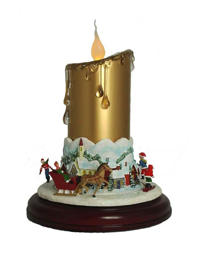 "9"" Musical Lighted Christmas Candle Decor with Animated Ice Skaters on Pedestal"