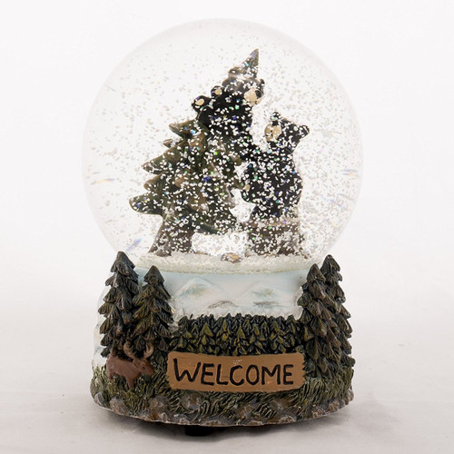 Welcome Black Bears Climbing Trees Musical Glitterdome Snow Globe