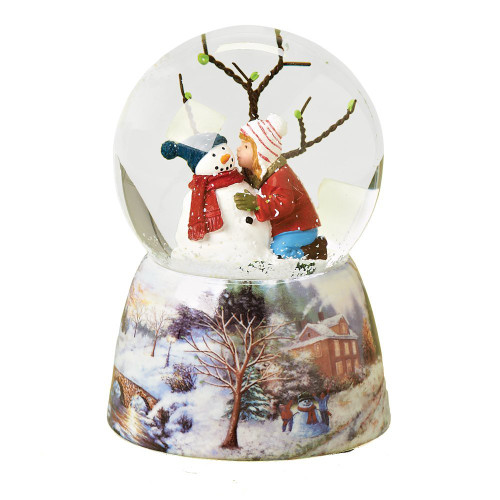 "Musical 5"" Child Kissing Snowman Glitter Dome Water Globe - Plays 'Frosty the Snowman'"