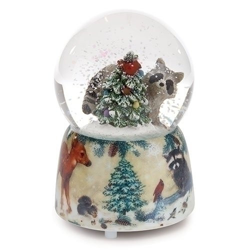 "Roman - MUSIC- 4.75"" RACOON GLITTERDOME 80MM W/DECAL BASE"