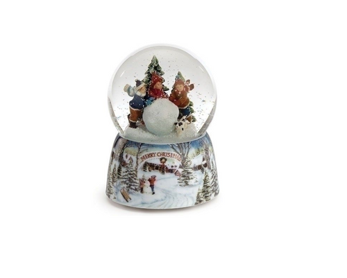 "5.5"" Red, Green and White Kids Rolling Snowball ""Merry Christmas"" Musical Snowglobe"