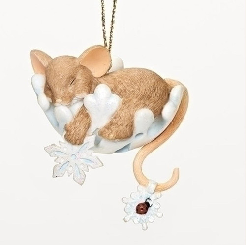 Charming Tails MOUSE ON SNOWFLAKE Ornament