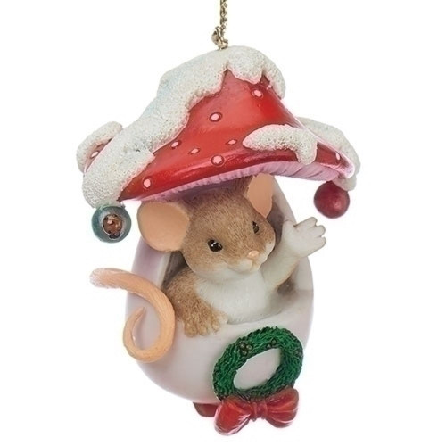 Charming Tails- Holiday Hello Mouse in Toadstool Ornament