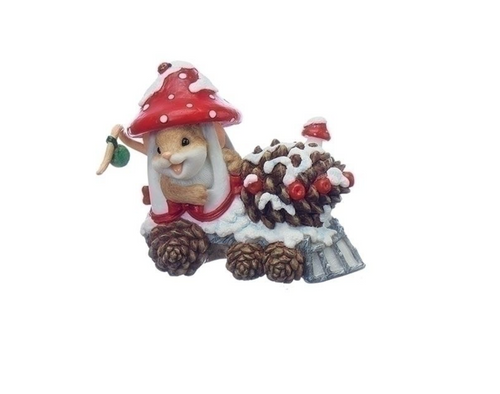Charming Tails Christmas Mouse In Mushroom Acorn Train New 2017