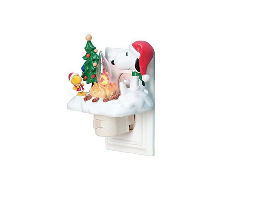 Peanuts Snoopy and Woodstock by Campfire Christmas Night Light