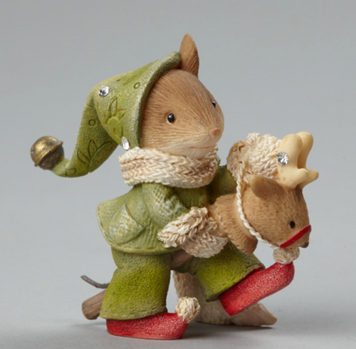 "Heart of Christmas- ""Mouse On Toy Reindeer"" figurine"