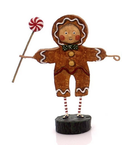 Lori Mitchell GINGERBREAD BOY Polyresin Peppermint Candy Christmas