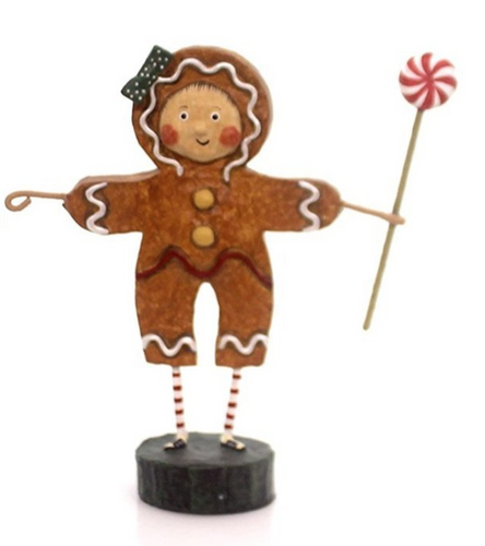 Lori Mitchell GINGERBREAD GIRL Polyresin Peppermint Candy Christmas