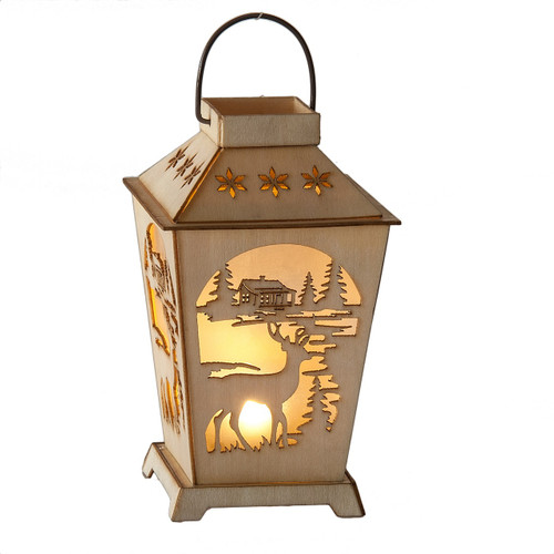 Deer Lantern Carved Ornament with LED Light