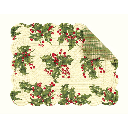 Rectangle Cream Holly  Placemat