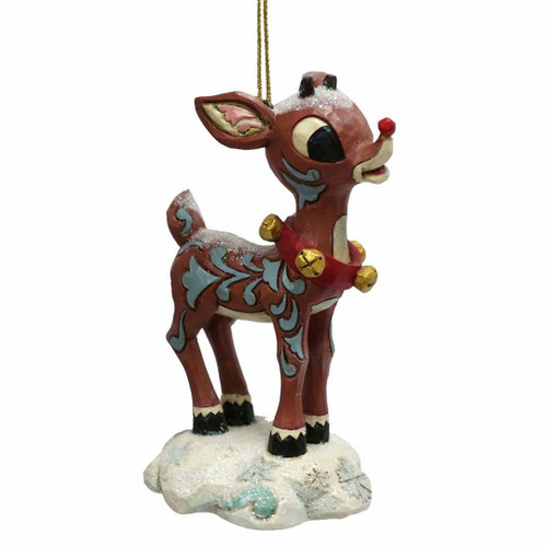 "Jim Shore ""Rudolph the Red-Nosed Reindeer"" Traditions, Rudolph Stone Resin Hanging Ornament, 3.75"""