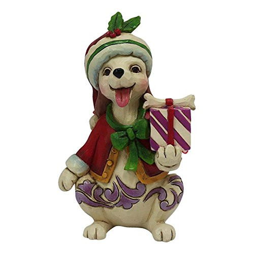 Jim Shore Heartwood Creek Mini Christmas Dog with Gift