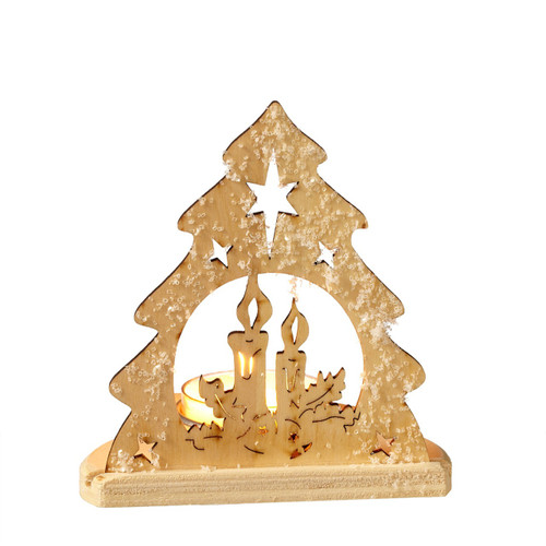 Christmas Tree, Candle and Stars, Silhouette Tealight Candle Holder