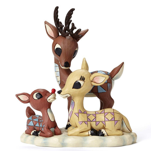 Jim Shore Rudolph the Red Nosed Reindeer with Mom and Dad Figurine