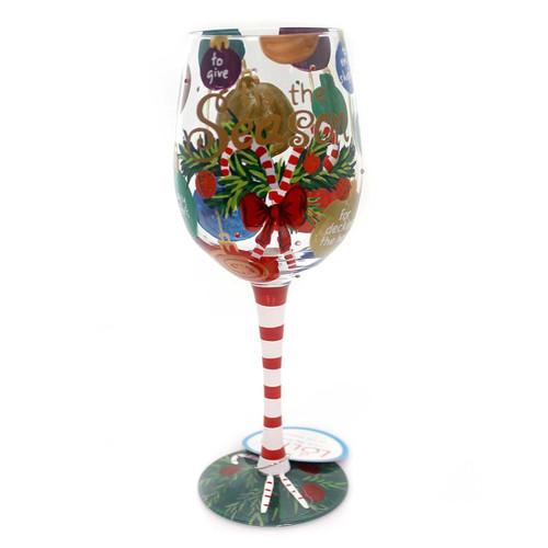 "Tis The Season Wine Glass by Lolita, 10.5"""