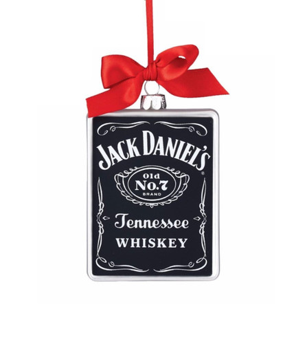 "Department 56 Jack Daniel's ""Old No 7 Rectangle"" Glass Christmas Ornament"