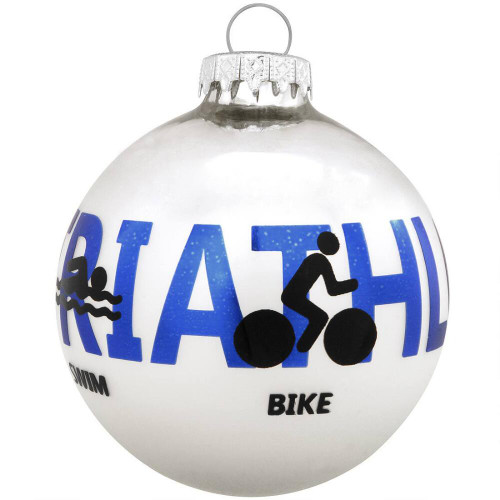 Triathlon Glass Ornament