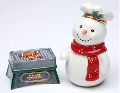 Snowman with Grill Porcelain Salt and Pepper Shaker