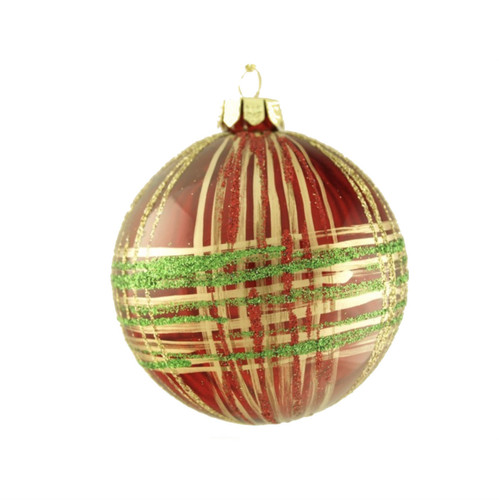 RED WITH GLITTER PLAID DESIGN GLASS ORNAMENT