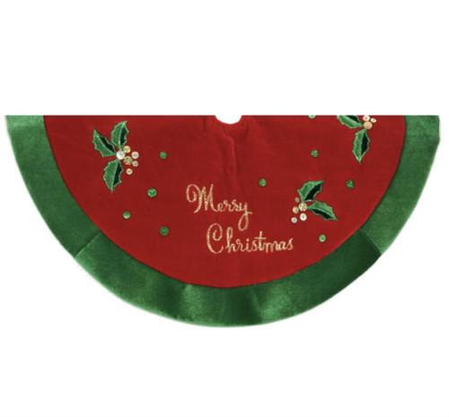 20 INCH RED VELVET MINI MERRY CHRISTMAS TREE SKIRT