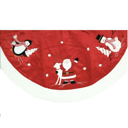 56 INCH RED AND WHITE VELVET ICON SKIRTS WITH SNOWBALLS