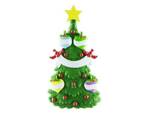 Free Personalization* Glittering Green Christmas Tree with 4 Balls
