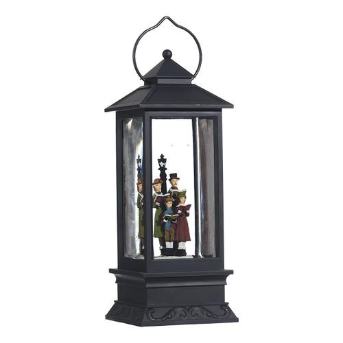 Lighted Snow Globe Lantern: 11 Inch, Black Holiday Water Lantern (Carolers)