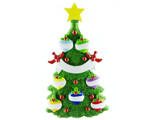 Free Personalization* Glittering Green Christmas Tree with 7 Balls