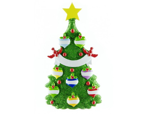 Personalization* Glittering Green Christmas Tree with 8 Balls