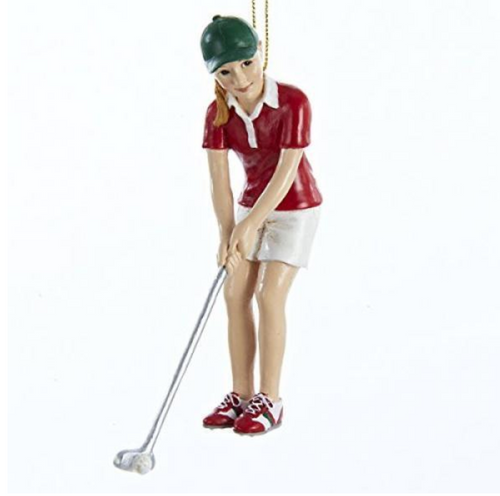 Girl Golfer Christmas Ornament