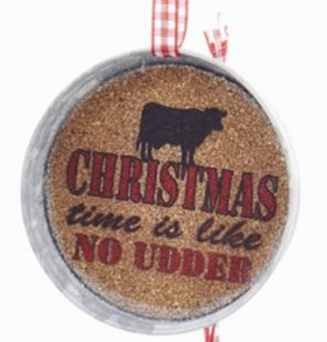 Christmas Time Is Like No Udder Cork Jar Lid - By Kurt Adler