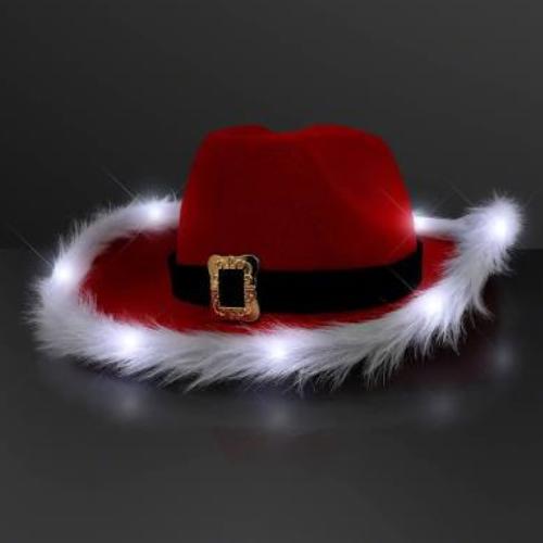 LED Santa Cowboy Christmas Hat