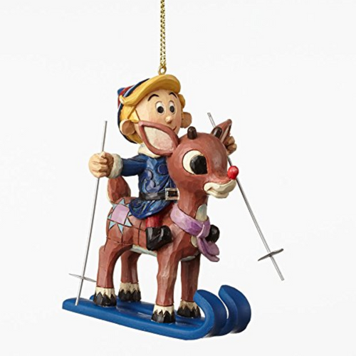 Jim Shore Skiing Rudolph and Hermey Orn Ho 5 in Hanging Ornament