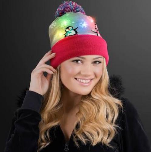 Cute Penguins LED Beanie Hat, Blinky Knit Cap