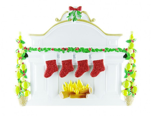 Free Personalization* Family of 4 Sparkling Red Stockings on Fireplace