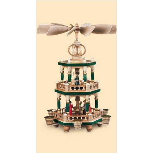 Mueller Nativity Pyramid Green Color 3 Level Made in Germany
