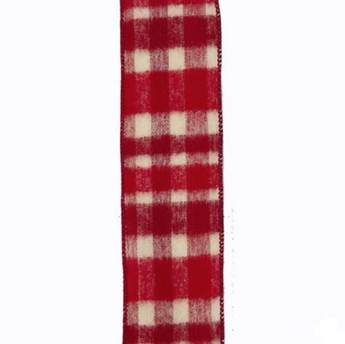Kurt Adler Red and Ivory Plaid Ribbon