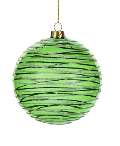 Glass  Green Swirl Design Ball Ornament