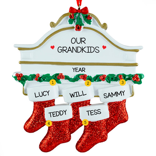 Free Personalization*  White Mantle with 5 Glittering Red Stockings Ornament