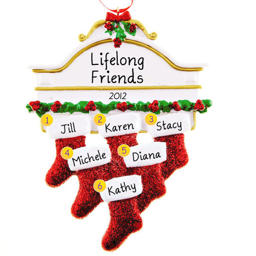 Free Personalization*  White Mantle with 6 Glittering Red Stockings Ornament