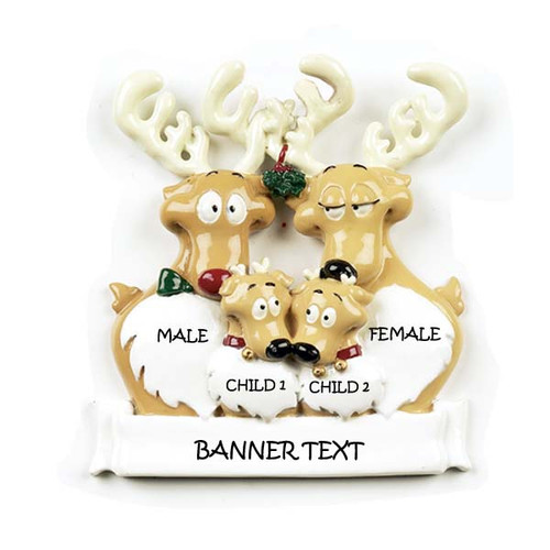 Free Personalization* Reindeer Family of 4