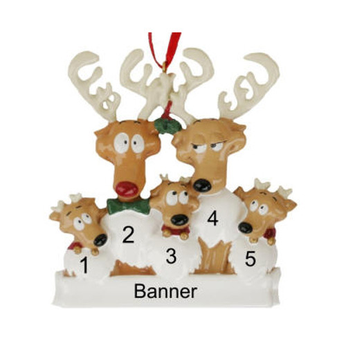 Free Personalization* Reindeer Family of 5