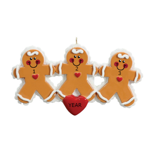 Free Personalization* 3 Gingerbread People with Red Heart Ornament