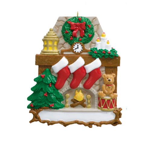 Free Personalization* Fireplace with 3 Red Stockings and Teddy Bear Ornament